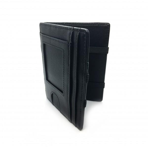 Magic Wallet mit Fenster - Echtleder schwarz | inkl. Münzfach