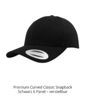 Curved Classic Snapback Cap - Vorderseite mit 2D oder 3D Stick