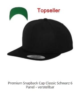 Snapback Cap - Vorderseite mit Stick - 34 Styles!! 2D oder 3D Stick